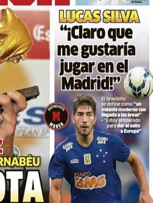 Lucas Silva fala ao Marca sobre a  vontade de jogar na Europa (Foto: Rprodução/Marca-ESP)