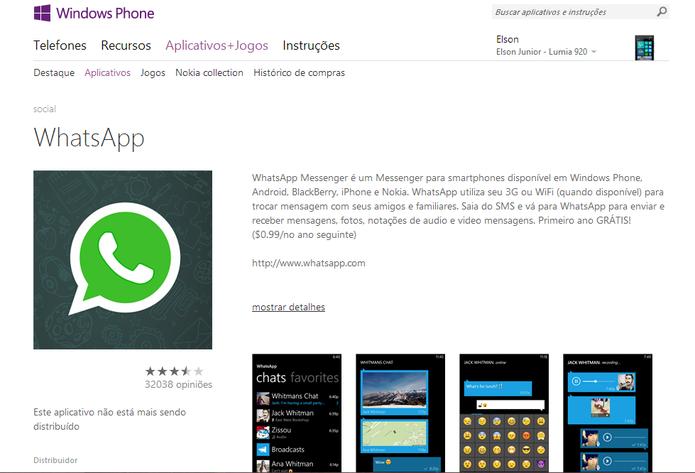 Windows Phone Store informa que aplicativo do WhatsApp não está mais disponível para download (Foto: Reprodução/Elson de Souza)