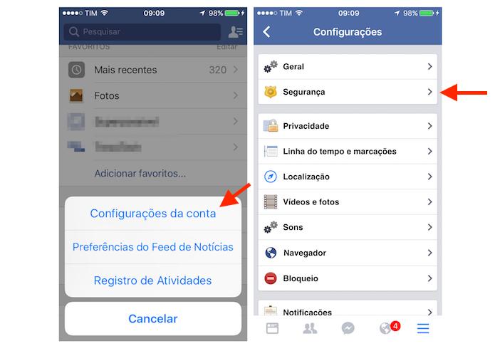 Acessando as configurações de segurança do Facebook pelo iPhone (Foto: Reprodução/Marvin Costa)