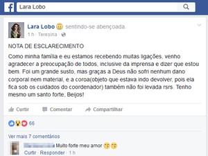 Lara Lobo relatou assalto nas redes sociais (Foto: Reprodução/Facebook)