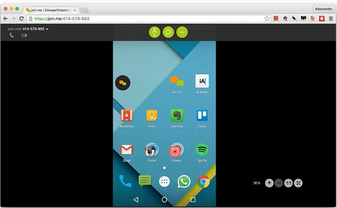 Tela do Android transmitida no Google Chrome em um Mac. (Foto: Reprodução/Alessandro Junior)