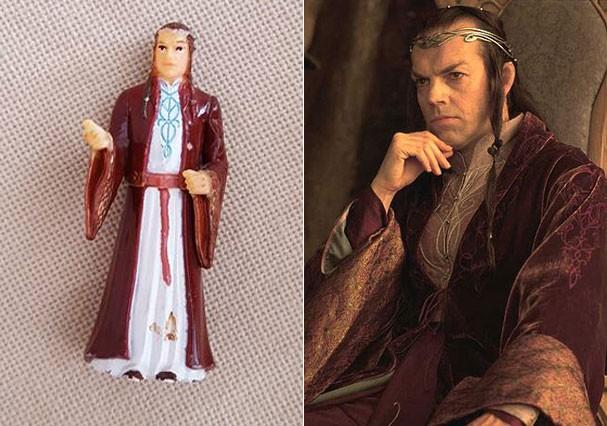 """O boneco e Elrond, no saga """"Senhor dos Anéis"""" (Foto: Reprodução/Facebook e Reprodução)"""