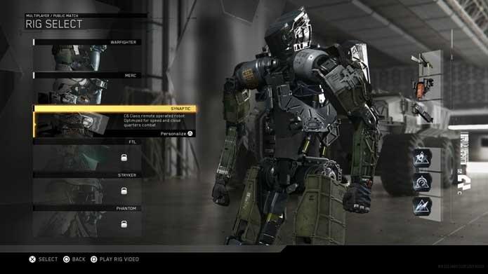 Escolha um Rig em Call of Duty: Infinite Warfare (Foto: Reprodução/Murilo Molina)
