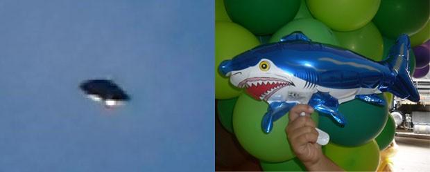 O óvni e um modelo do balão-tubarão: funcionário público diz que eles são a mesma coisa. (Foto: Arte G1)