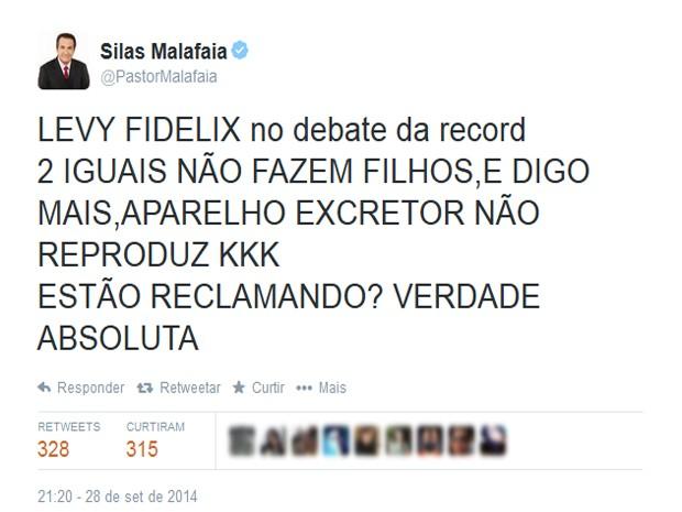 No Twitter, Silas Malafaia defende discurso de Fidelix  (Foto: Reprodução)