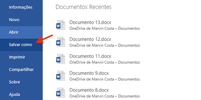 Acessando a opção para salvar o arquivo criado no Word Online em um tipo específico de documento (Foto: Reprodução/Marvin Costa)