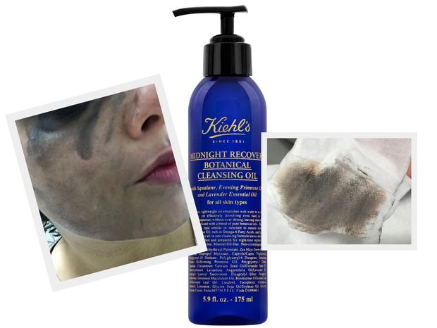 O rosto inteiro borrado de sombra e máscara para cílios. Ao lado, o lencinho sujo depois de apenas uma passada no rosto (Foto: Cristiane Senna)