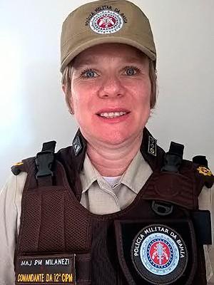 Major Milanezi é a primeira mulher a comandar uma companhia independente na Bahia (Foto: Polícia Militar / Divulgação)