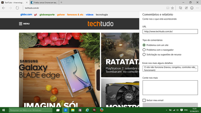 Spartan traz função de feedback voltado para usuários que desejam melhorar o navegador (Foto: Reprodução/Elson de Souza)
