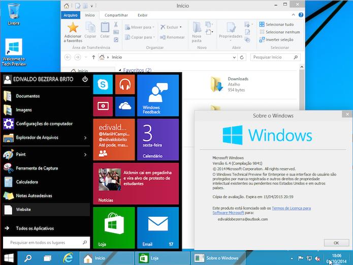 Windows 10: saiba como ficou o novo sistema da Microsoft (Foto: Reprodução/Edivaldo Brito)
