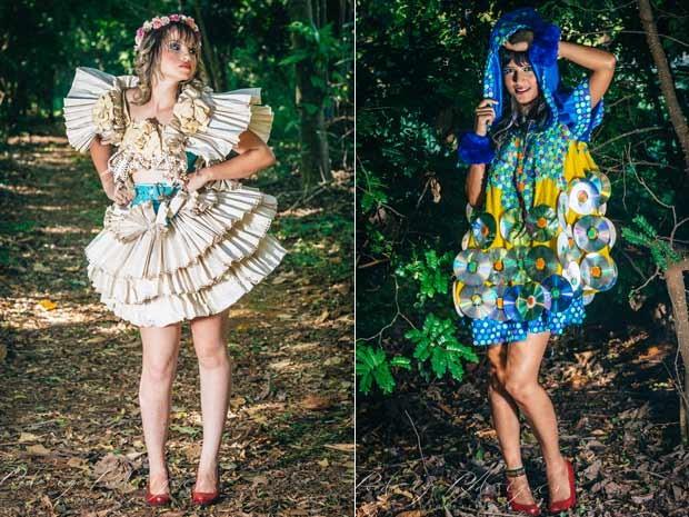Vestidos feitos por estilista de Brasília, aproveitando materiais que iriam para o lixo (Foto: Rodrigo Rodrigues/Divulgação)