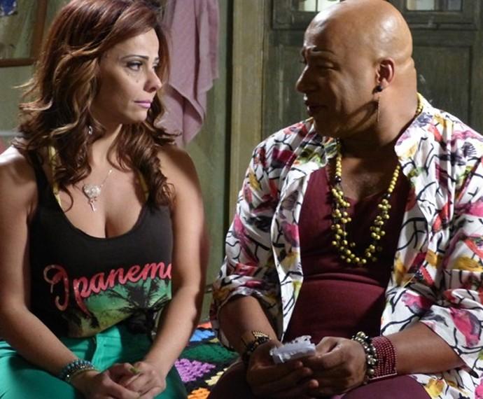 Viviane Aráujo como Naná e Aílton Graça como Xana em 'Império' (Foto: Fabio Rosso / Gshow)