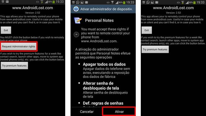 Clique nos comandos em destaque para autorizar o funcionamento do app (Foto: Reprodução/Daniel Ribeiro)