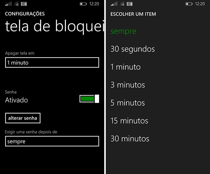 Windows Phone pode deixar de exigir senha por tempo mínimo, caso o usuário deseje (Foto: Reprodução/Elson de Souza)
