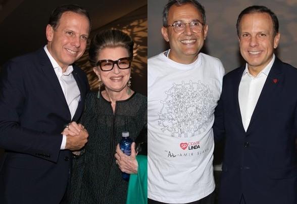 Doria confraternizou com Costanza Pascolato e Paulo Borges na semana de moda (Foto: Ag News)