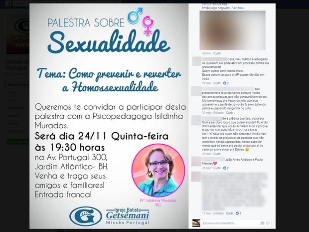 Palestra com tema 'Como prevenir e reverter a homossexualidade' causa polêmica e repúdio em Belo Horizonte (Foto: Reprodução/Facebook)