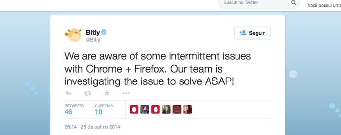 Bit.ly reconhece problemas com Chrome e Firefox e investiga falhas no acesso (Foto: Reprodução/Twitter)
