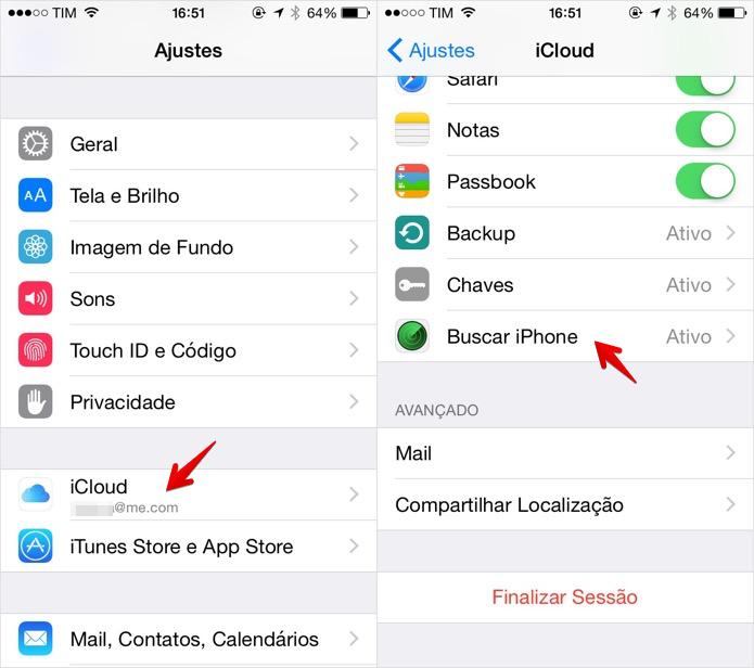 Acesse as configurações do iCloud (Foto: Reprodução/Helito Bijora)