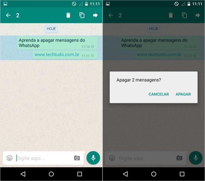 Apagando mensagens no WhatsApp para Android (Foto: Reprodução/Helito Bijora)