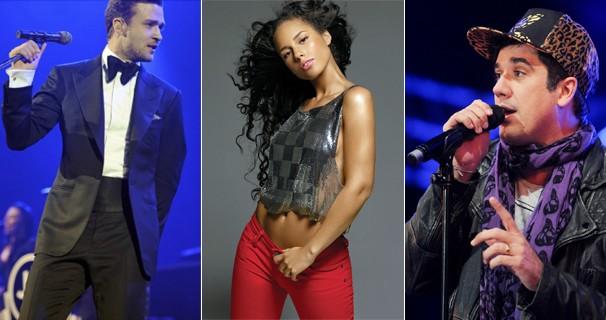 Os cantores americanos Justin Timberlake e Alicia Keys e o vocalista da banda Jota Quest, Rogério Flausino, atrações do Rock in Rio (Foto: Divulgação)