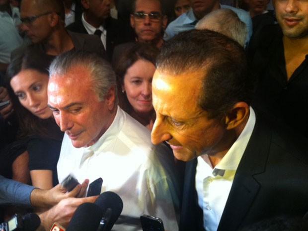 O vice-presidente Michel Temer e Paulo Skaf, eleito o candidato do PMDB para disputar o governo de São Paulo (Foto: Kleber Tomaz/G1)
