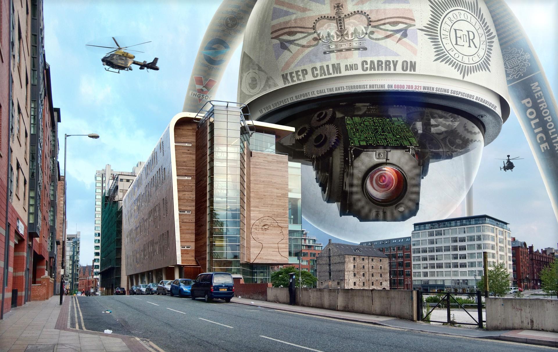 """A montagem, inspirada em """"1984"""", de George Orwell, mostra a vigilância constante - algo previsto para acontecer daqui 20 anos (Foto: flickr tj blackwell / creative commons)"""