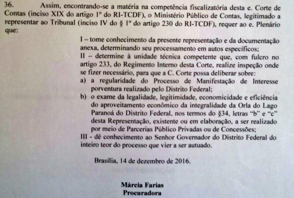 Trecho da representação do Ministério Público de Contas que pede auditoria no projeto Orla Livre (Foto: Reprodução)