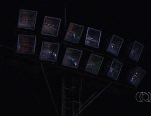 Torre do OBA apagada (Foto: Reprodução/TV Anhanguera)
