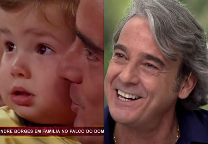 Alexandre Borges se emociona ao rever filho pequeno no Vídeo Show (Foto: TV Globo)