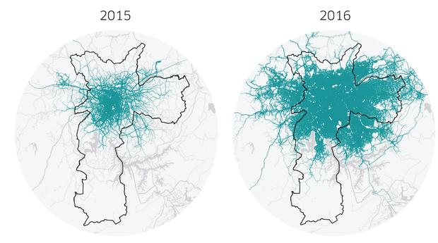 De 2015 a 2016, os serviços da Uber passaram a ser mais usados pelos paulistanos (Foto: Divulgação)