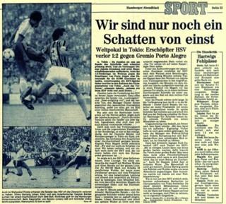 jornal alemão hamburgo grêmio mundial 1983 tóquio (Foto: Reprodução)