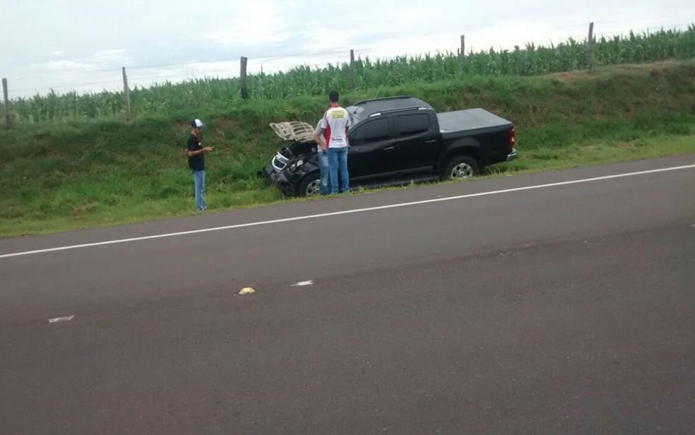 Frente da caminhonete ficou destruída com o impacto da batida com os animais (Foto: José Antônio)