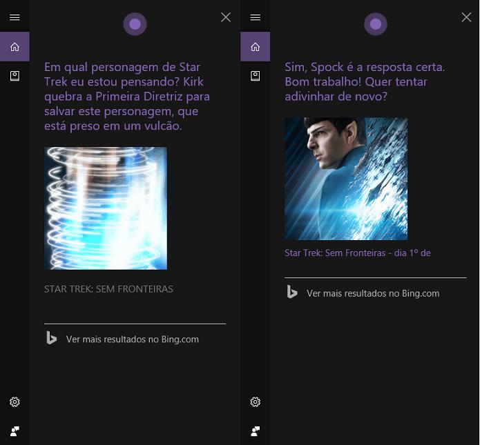 Cortana dá dicas de personagens (Foto: Reprodução/Tassia Moretz)