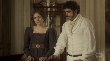 Dom Pedro tranquiliza Anna e explica que ela irá escoltada dos melhores guardas