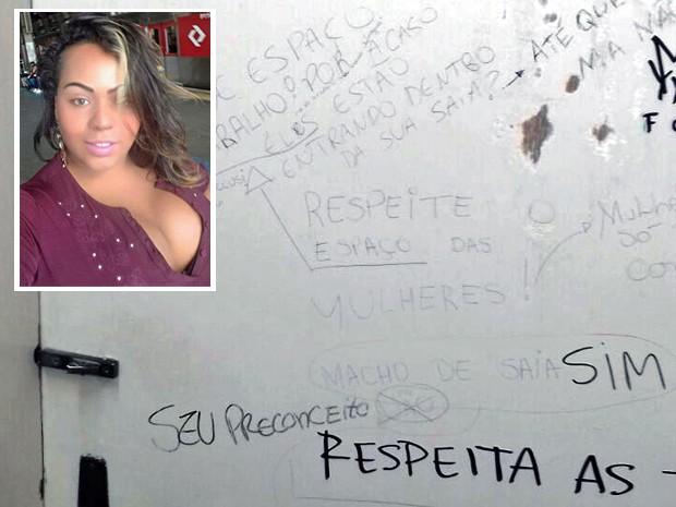 'Respeite o espaço das mulheres. Macho de saia, não', diz frase em porta de banheiro feminino (Foto: Arquivo pessoal/Agatha Mont)