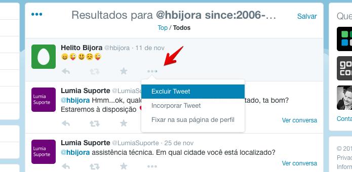 Excluindo um tweet localizado pela busca (Foto: Reprodução/Helito Bijora)