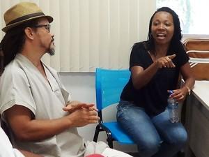 Guellwaar Adún e Cristian Sales em conversa com o G1 (Foto: Danutta Rodrigues/G1)