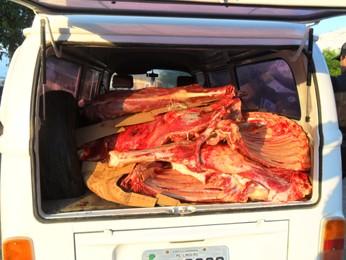 Carne de jumento estava dentro de uma kombi alugada. (Foto: Polícia Militar/Divulgação)