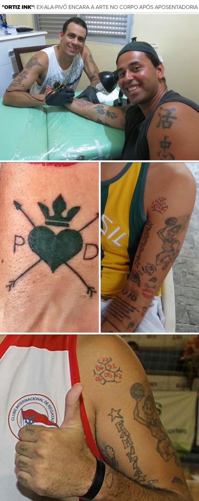Mosaico - Ortiz Tatuagens  (Foto: Arquivo Pessoal e Natasha Guerrize)