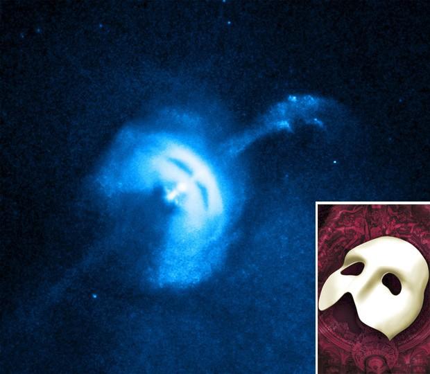 """Imagem mostra estrela de nêutrons; no detalhe, máscara eternizada na peça de teatro (Foto: Divulgação/Nasa/Reuters/""""The Phantom of the Opera"""")"""