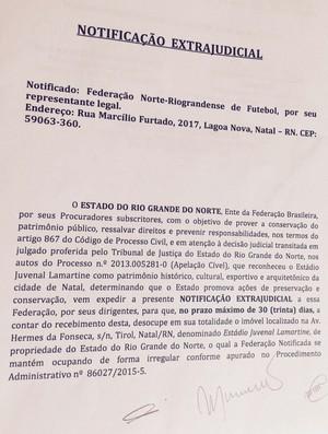 Notificação FNF Juvenal Lamartine (Foto: Reprodução)