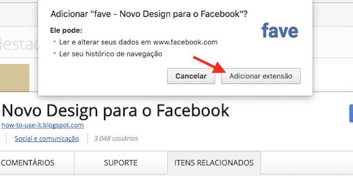Opção para instalar a extensão Fave que duplica o feed do Facebook no Google Chrome (Foto: Reprodução/Marvin Costa)