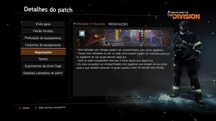 Sistema de trade chegou ao The Division com novo update (Foto: Reprodução/Thiago Barros)