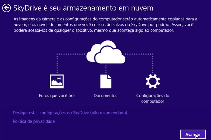 Ativando o OneDrive