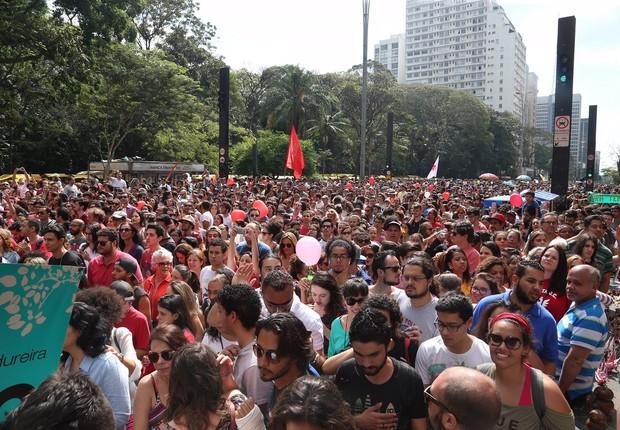 Paulistanos compareceram a evento para agradecer o atual prefeito, Fernando Haddad, por sua administração (Foto: Paulo Pinto/AGPT)