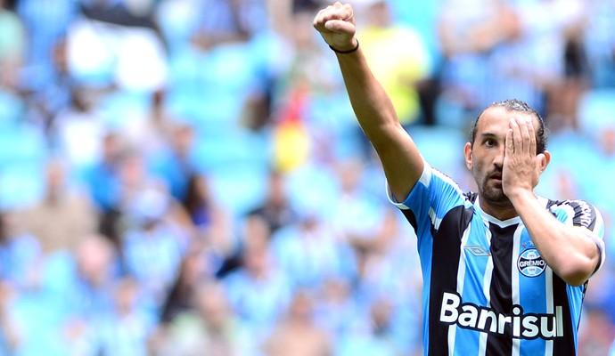Barcos comemora gol do Grêmio contra o Frederiquense (Foto: Edu Andrade / Estadão Conteúdo)