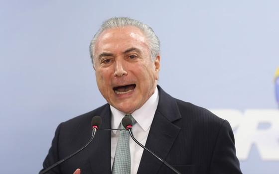 Presidente Michel Temer durante pronunciamento no Palácio do Planalto (Foto:  Adriano Machado/ÉPOCA)