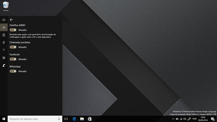 Usuário precisa sincronizar Cortana com Android para solicitar apps (Foto: Reprodução/Elson de Souza)