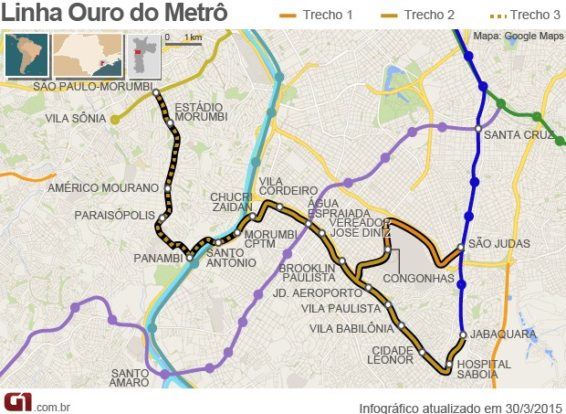 Mapa monotrilho linha ouro (Foto: Arte/G1)