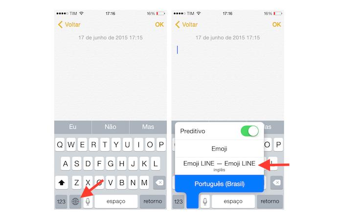 Acessando o Emoji Keyboard by LINE no iPhone (Foto: Reprodução/Marvin Costa)